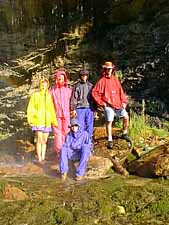 Group gets damp under waterfall