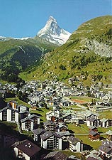 Zermatt, with the Matterhorn in the distance